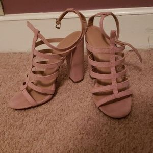 Rose pastel pink thick sole heels 7